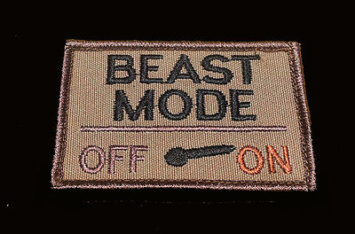 BEAST MODE ON  TACTICAL SWAT ARMY COMBAT 3 INCH HOOK LOOP PATCH