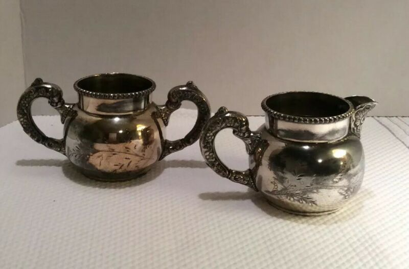 Antique Quadruple Silverplate Cream and Sugar Victorian  Engraved And Embossed