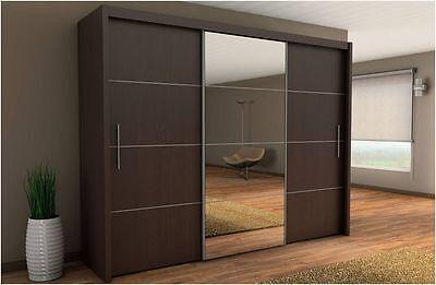 Inova Sliding Door Wardrobe Wenge Bedroom Furniture Chest of Drawers Bedside