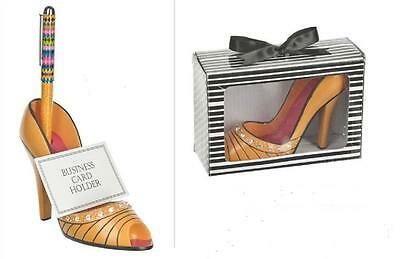 Ganz High Heel Fabulous Shoe Business Card & Pen Holder NIB Peach