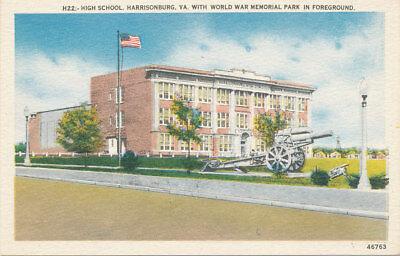 Harrisonburg VA * High School with World War Memorial & Cannon ca. 1940