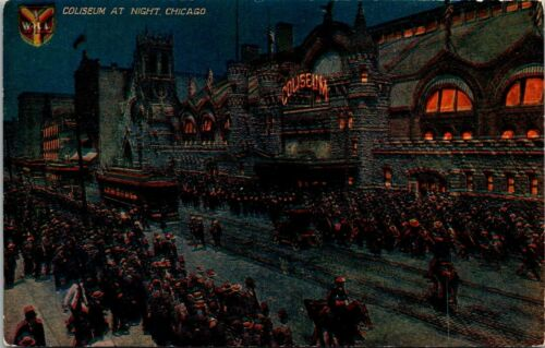Postcard Coliseum At Night Chicago