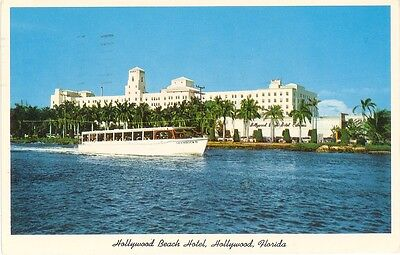 Vintage Florida Chrome Postcard Hollywood Beach Hotel From Inland Waterway