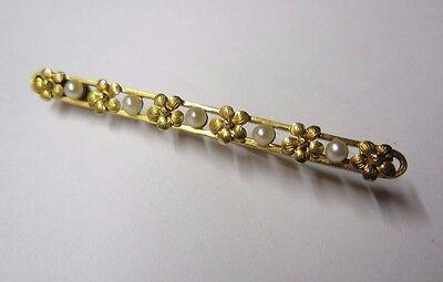 Alte Brosche in Gold 585 mit Süßwasserperle