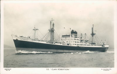 Cargo Liner S.S Clan Robertson Clan line W. Ralston Ltd Glasgow Real Photo