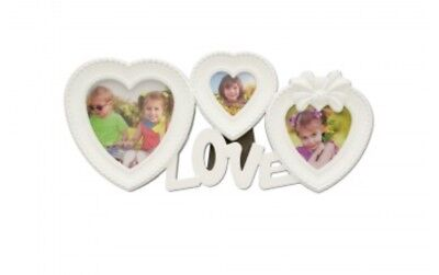 Love Collage Photo Frame 3 Photos in Heart Shaped White Frames