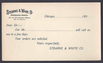 CA 1899 POSTAL CARD CHICAGO IL STEARNS & WHITE  CHEMISTS SALESMANS CALLING CARD