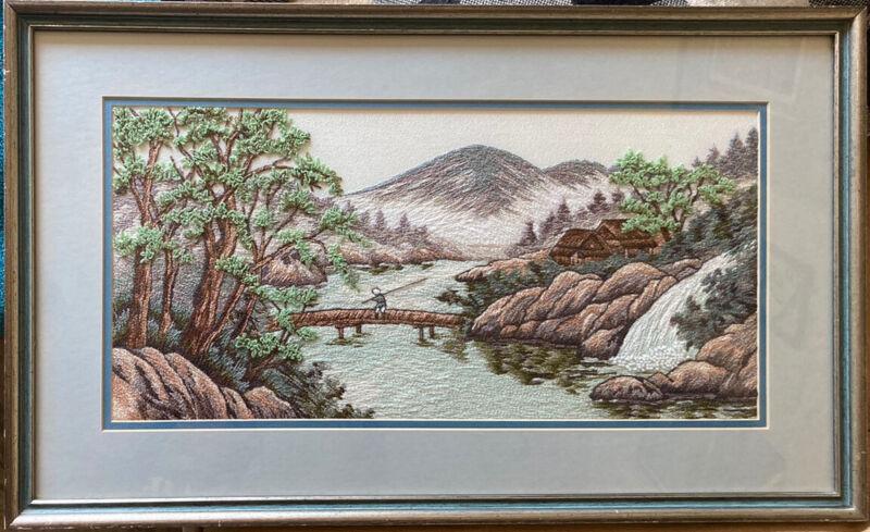 Vintage STUNNING Framed Wall Art Handmade Embroidery Yarn Thread Asian Landscape