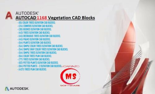 AUTOCAD AND OTHER CAD SOFTWARE BLOCKS COLLECTION DWG 1168 Vegetation CAD Blocks