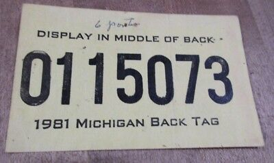 1981 Michigan Passport Hunting  Back Tag 0115073   >