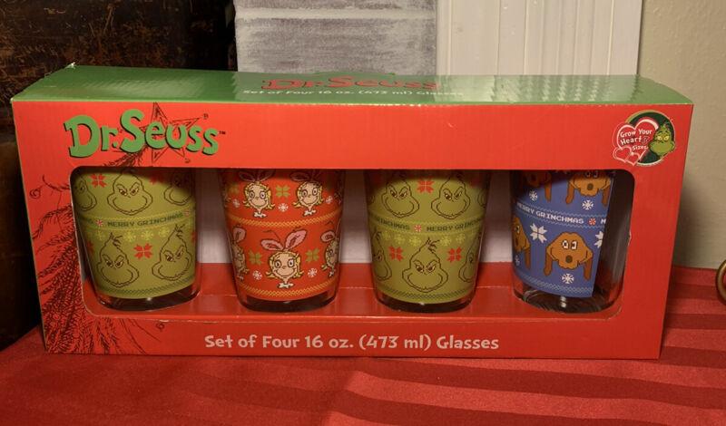 Dr. Seuss How The Grinch Stole Christmas Set of Four 16 oz. Glasses Tumbler