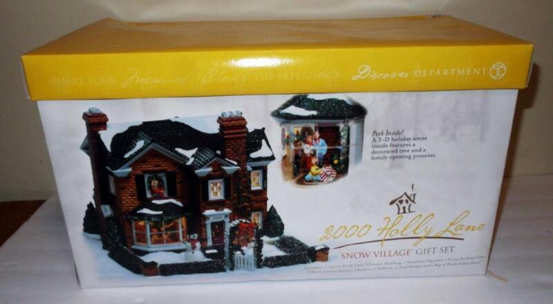 DEPT 56 2000 HOLLY LANE SNOW VILLAGE GIFT SET NEW IN BOX