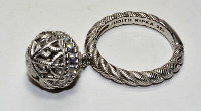 Designer Judith Ripka Sterling pave Diamonique CZ Dangle Ball Ring S7 Unique