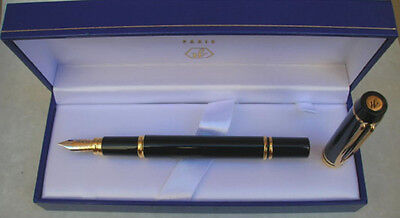 Waterman  Le Man100 Black Fountain Pen 18K Gold  Fine Pt Ideal Globe New In Box