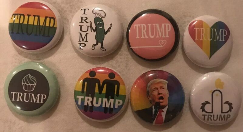 Gay Trump Pin Lot  8 One Inch Pins Political/Pins Cupcake LBGT Rainbow Cupcake