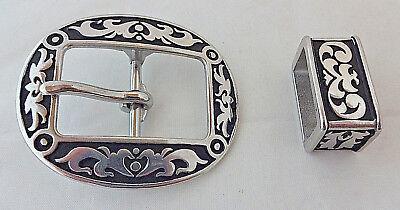 "Hansen Western 3 Piece 3//4/"" Belt Buckle Iron Silver Overlay Card Suit Horse Tack"