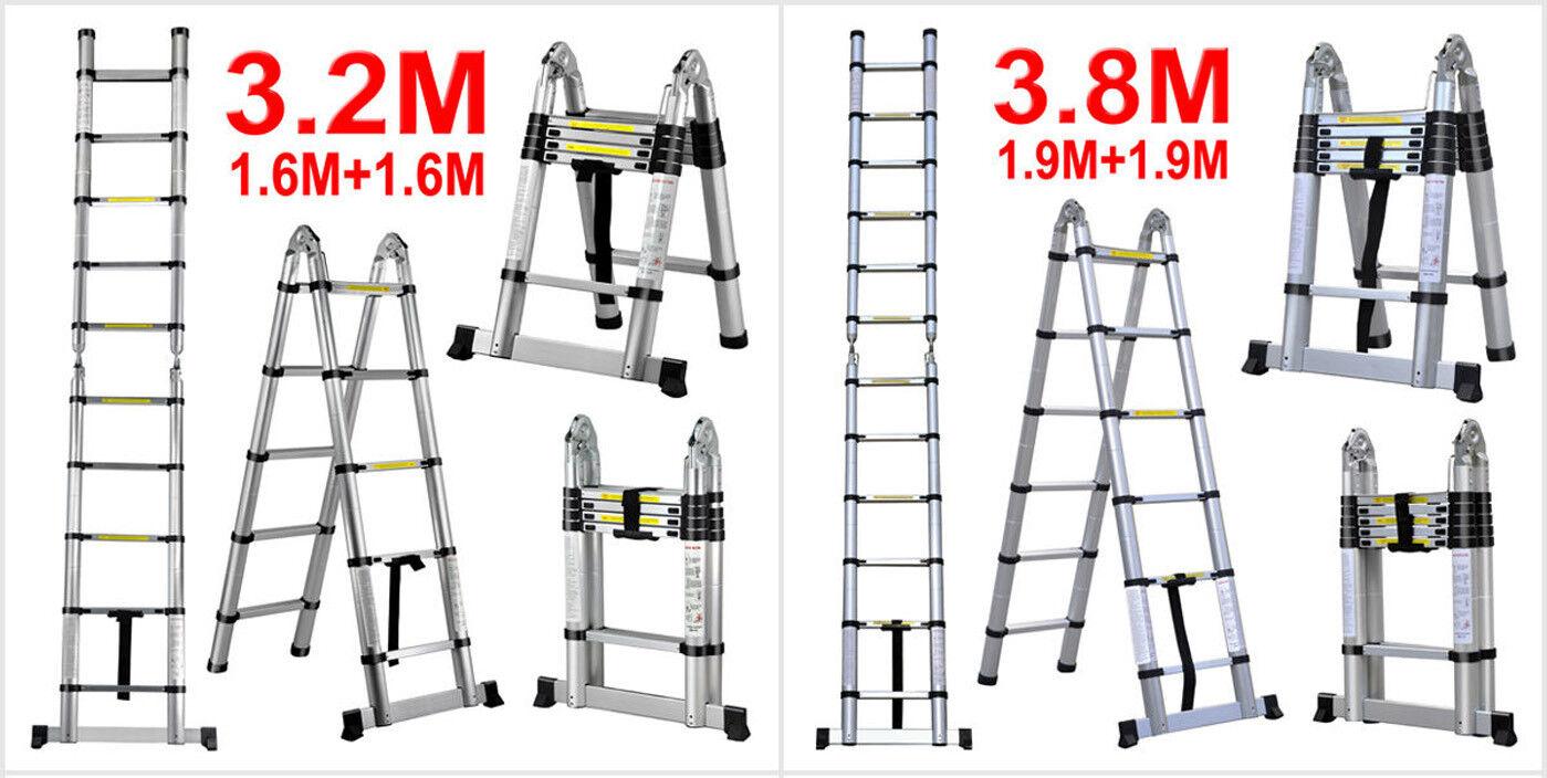 3.2m 3.8m A Frame Multi-Purpose Telescopic Aluminium Extension Ladder Stabiliser