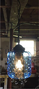 Vintage 1960's Blackened Brass and Cobalt Blue Swag Lamps