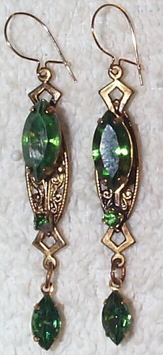 Vintage mossy green shiny glass and brass drop earrings - 2 inches long