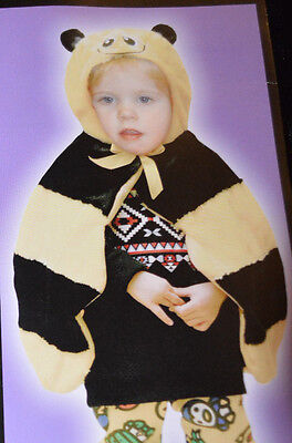 Toddler Totally Ghoul Yellow & Black Bee Fuzzy Cape For Ages 2-3 One Size (Bee Costume Toddler)