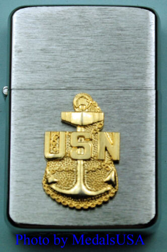 NAVY CHIEF PETTY OFFICER WIND PROOF PREMIUM LIGHTER IN A GIFT BOX CPO USN