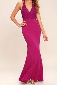 Fuchsia Lace Halter Maxi Dress for Wedding or Prom WITH TAGS