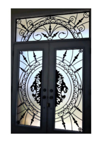 Stained glass inserts Wrought iron Glass Decorative Door Glass