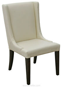 2 - Cream Leather Dining Wing Chair, Also in Grey and Brown
