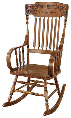 - Country Style Brown Oak Finish Rocker Rocking Chair 600175