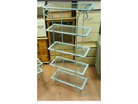 Tall 4 tier glass shelving unit £30 delivered