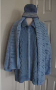 3 Pc Hand made Cardigan Sweater Jacket and Scarf & Hat. size M