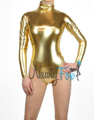 Metallic Gold Mock Neck Long Sleeve Leotard Wet-Look Dance Bodysuit - Gold Costumes