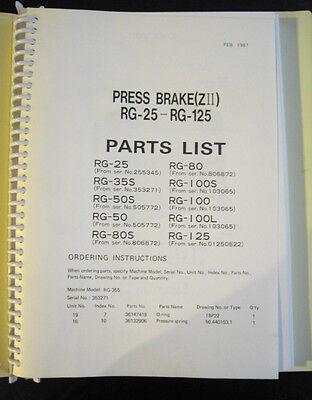 Amada Rg-25 Thru Rg-125 Press Brake Parts Lists Manual