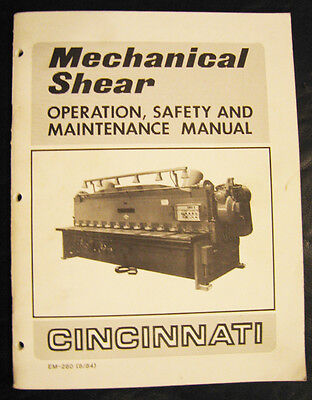 Cincinnati Mechanical Shear Operations And Maintenance Manual