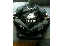 BKS mens leather motorcycle/motorbike jacket