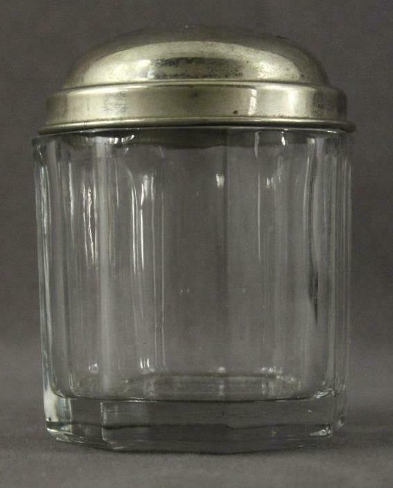Vintage Kitchen Panel Weighted Base Glass Chrome Dome Top Covered Sugar Bowl