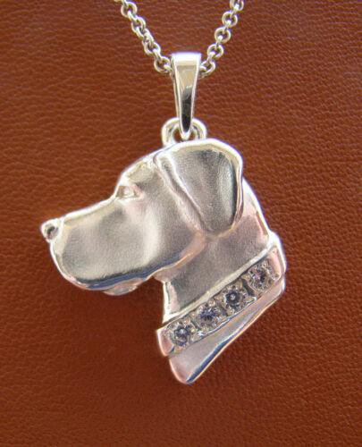 Large Sterling Silver Great Dane Head Study With Cropped Ears & CZ Collar Pendan