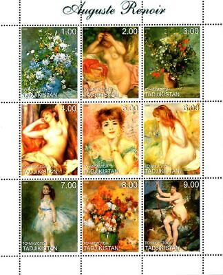 Tajikistan 1999 Famous Nude Paintings by Auguste Renoir 9v MNH F/S. (L-128)