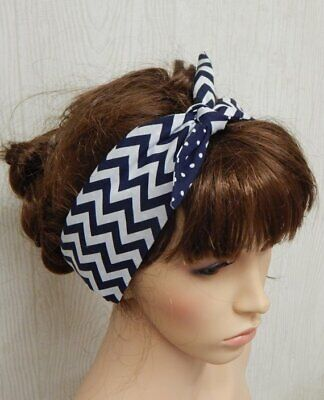 Retro reversible women headband self tie 50's head wear rockabilly head scarf