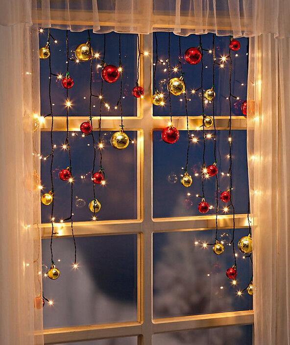 Lichtervorhang Lichterkette Fenster Kugeln Fensterdeko LED ...