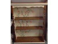 Beautiful hand painted plate rack, book shelf, display unit