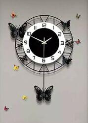 Fleble Butterfly Design Black Pendulum Wall Clock Non Ticking Silent Movement