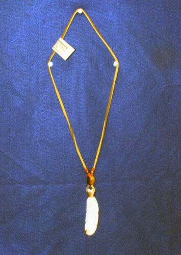 """Carved 3.5"""" Feather Necklace 26"""" Leather Cord  Orange Beads Native American 02"""