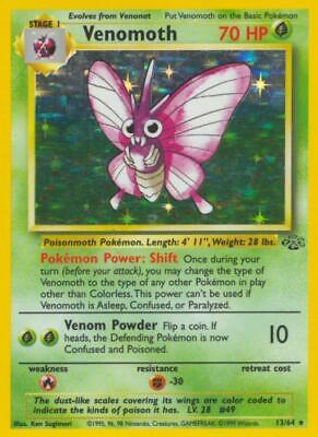 Venomoth Holofoil Rare MP WOTC Pokemon Card 013 Jungle StrikeZoneOnline