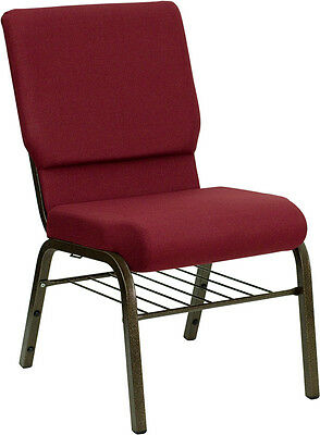 18.5w Burgundy Fabric Church Chair With Book Rack With Gold Vein Frame