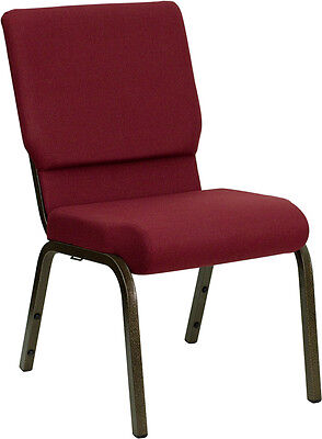 Lot Of 100 18.5w Burgundy Fabric Stacking Church Chair - Gold Vein Frame