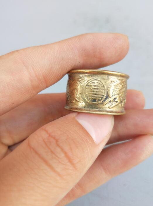 China pure brass carving dragon and phoenix ring