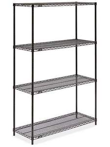 Black metal wire shelving unit