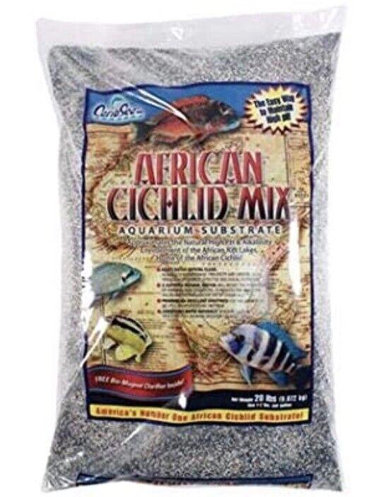 Carib Sea African Cichlid Mix Aquarium Substrate, 20-pound-Black And White