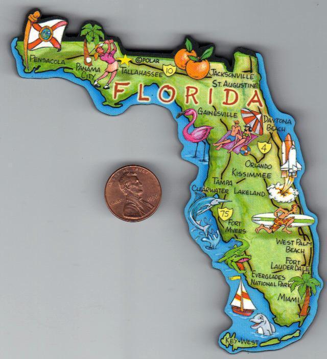 FLORIDA  FL  ARTWOOD JUMBO STATE MAP MAGNET  TALLAHASSEE  MIAMI TAMPA ORLANDO